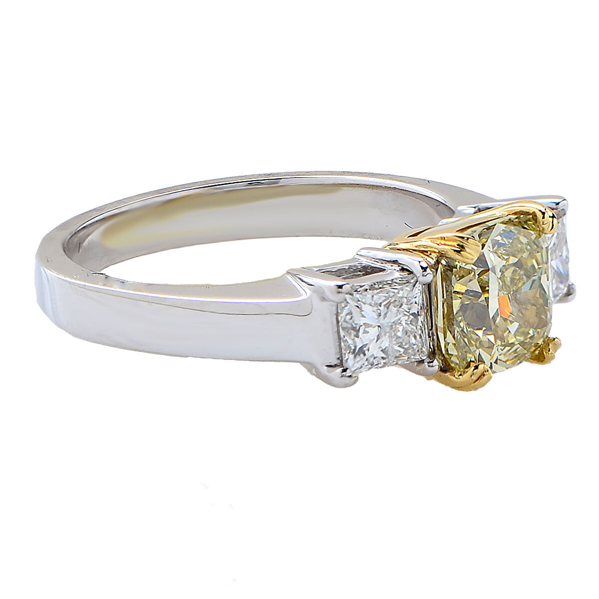 Beautiful GIA Certified Natural Fancy Color Yellow Diamond Engagement Ring 1