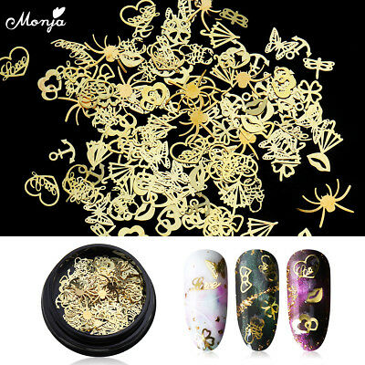 Used, Nail Art Metal Butterfly Heart Sequins Flake Rivet Studs 3D DIY Charm Decoration for sale  China