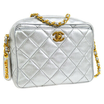 CHANEL Quilted CC Logos Single Chain Shoulder Bag Silver Leather GS01622d