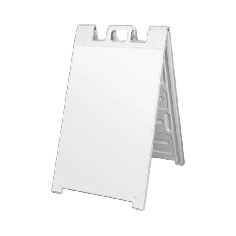 Plasticade Folding Sidewalk Double Sided Sign Stand, White (Open Box) (2 Pack)