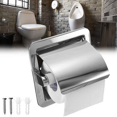 Recessed Toilet Paper Roll Holder Stand Tissue - Brushed Nickel Loaded Bath ❤ ()