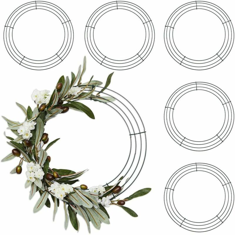 Round Metal Floral Wire Wreath Frame for Christmas (16 Inches, 6 Pack)