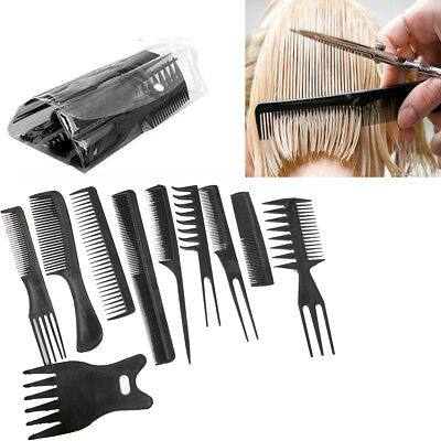 10 Comb Set Hair Styling Salon Hairdressing Assorted Colour Cut Barber Brush Kit