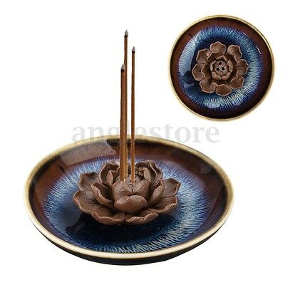 3-Stick Hole Holder Ceramic Incense Burner Buddha Glaze Lotus Censer Plate Cones