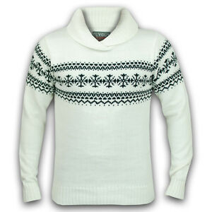 Mens Jumpers Soul Star Knitwear Striped Knit Fair Isle Shawl Collar Sweater New