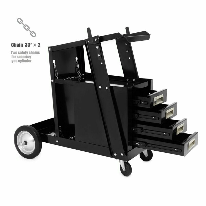Sliding 4 Drawer Cabinet Welding Welder Cart Mig Flux Welder Arc Tig w/ Wheel
