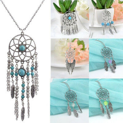 Retro Dream Catcher Turquoise Feather Charm Pendant Sweater Long Chain Necklace