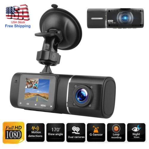 Dual Lens Front & Inside Camera HD Car DVR Dash Cam Video Re