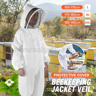 Cotton Full Body Beekeeping Bee Keeping Suit Jacket W Veil Hat Hood Lxlxxl