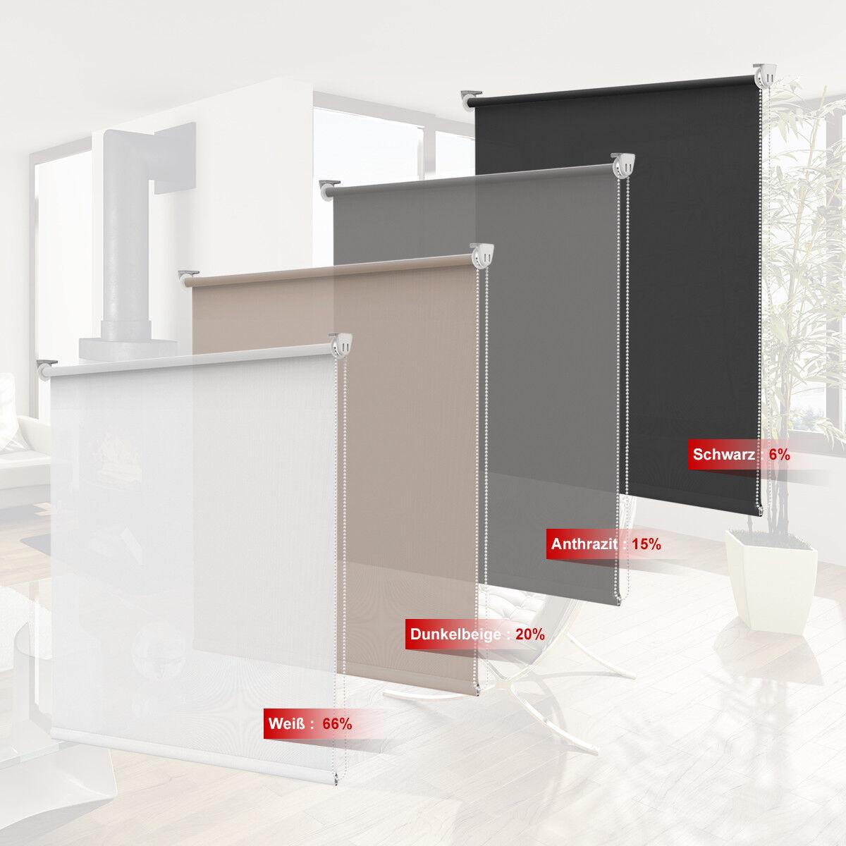 Tageslichtrollo klemmfix Rollo ohne Bohren für Fenster innen Lichtdurchlässig