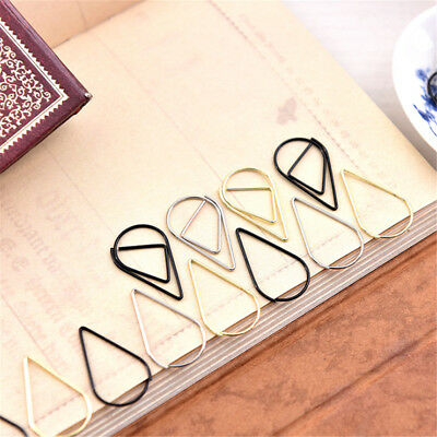 50pcs Metal Drop Shape Paper Clips Kawaii Bookmark Office Shool Stationery