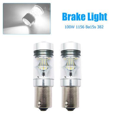 2x 100W 1156 BA15S 382 P21W CREE XBD WHITE LED STOP REVERSE LIGHT CANBUS* BULB