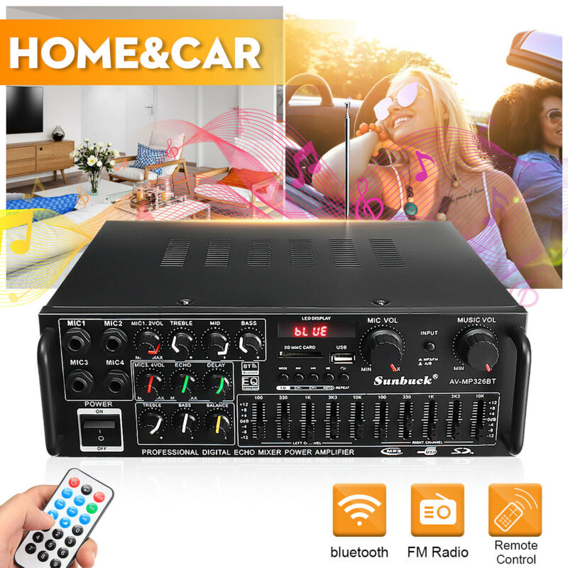 326BT 110V 2000W bluetooth Power Amplifier Home Stereo 2Ch AMP FM Radio SD USB