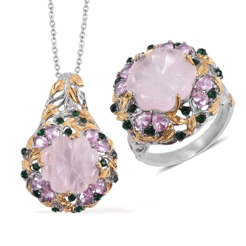 """Steel Rose Quartz, Crystal, Ring Size 10 Pendant Set with chain 20"""" Cttw 34"""