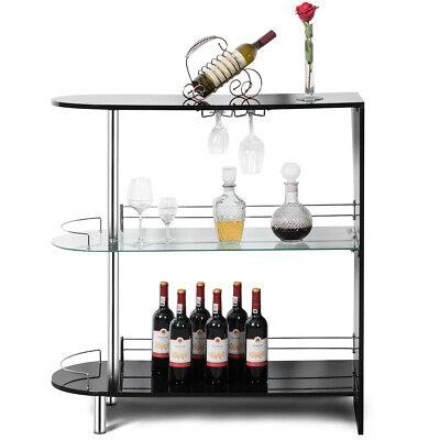 Bar Table Wine Storage Unit w/Tempered Glass Shelf & Glass Holders Glossy  Black