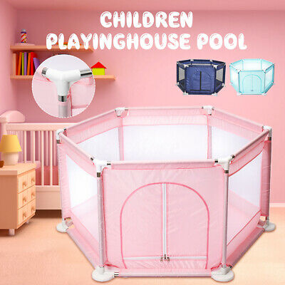 6 Side Baby Kids Toddler Safety Playpen Play Center House Yard Indoor with Gate
