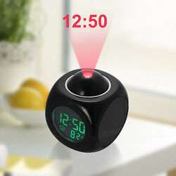 Alarm Clock Digital LCD Display Voice Talking LED Time Temperature Projector US