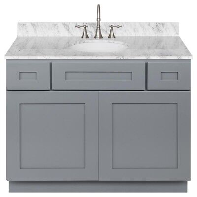 Colonial White Cabinets - Vanity Cabinet 42 Colonial Gray, White Granite Cara, LB7B Top