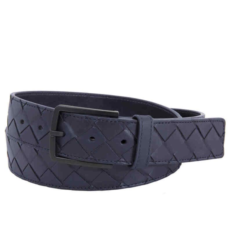 Bottega Veneta Men Blue Intrecciato Weave Belt
