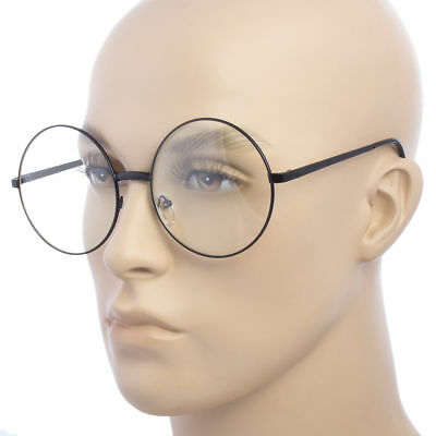 Vintage Retro Clear Lens Metal Oversized Circle Round Glasses Frames Black (Gold Circle Lenses)