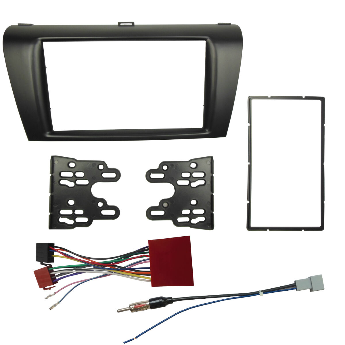 Double Din Radio Fascia For Mazda 3 Stereo Panel With Iso Wiring Harness Kit