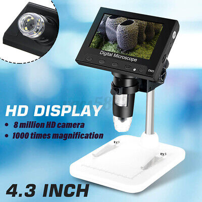 4.3 1000x Lcd Monitor Hd Electronic Microscope Digital Video 8 Led Magnifier Us
