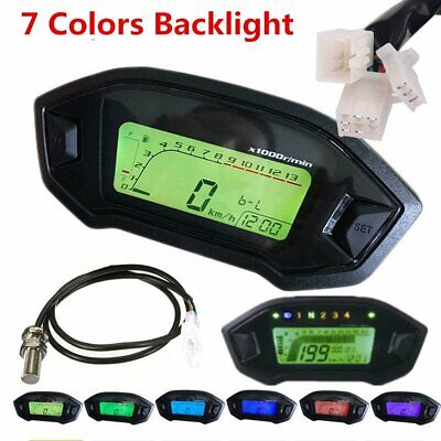 LCD Digital Backlight Universal Motorcycle Odometer Speedometer Tachometer Gauge