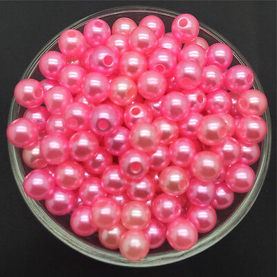 Wholesale 100PCS 6mm Pink  Acrylic Round Pearl Spacer Loose Beads Jewelry Making