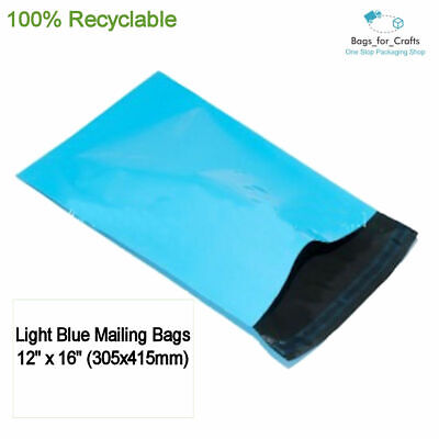 100 Recyclable Plastic Poly Mailing Bags Light Blue 12 x16