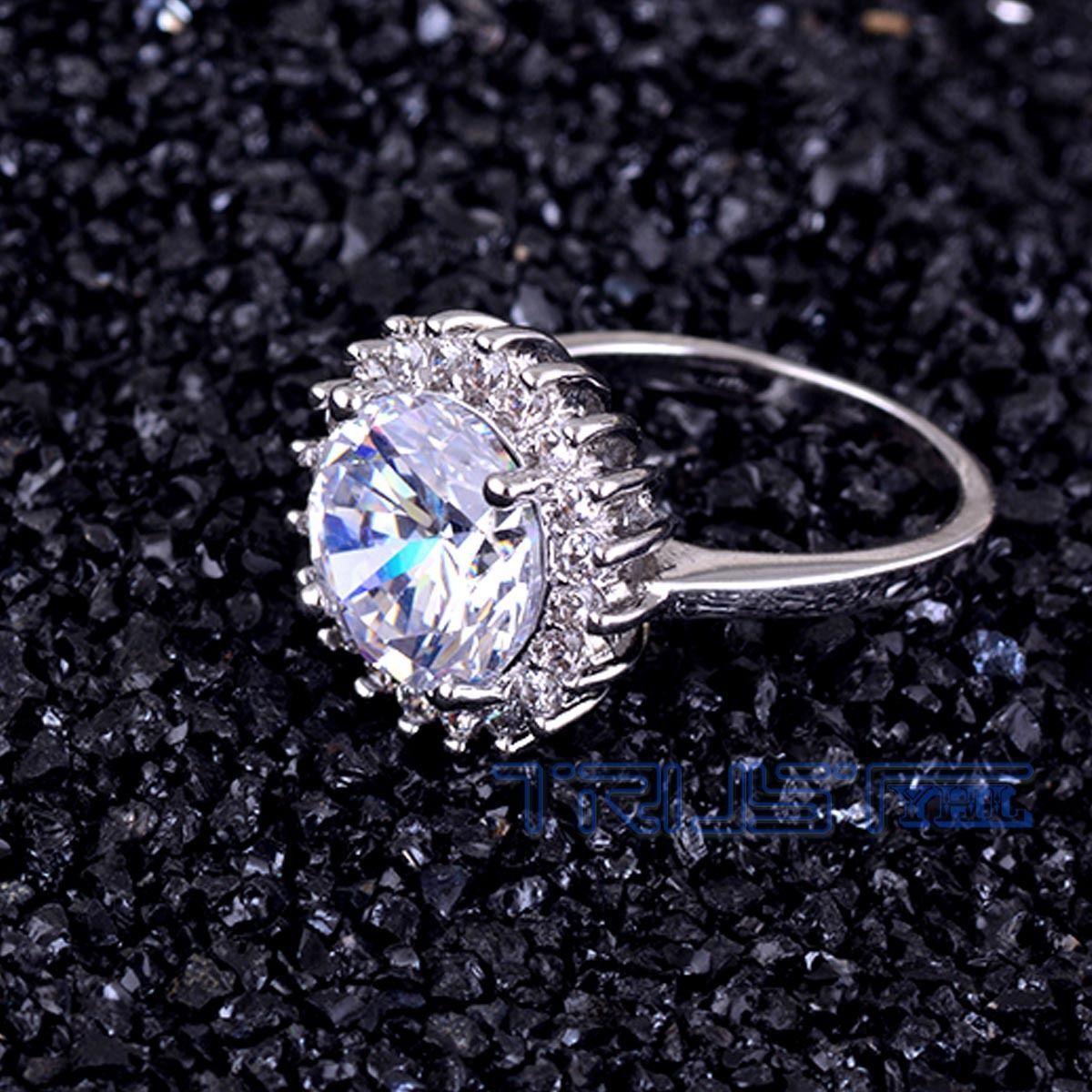 Women Jewelry  Silver Wedding Set Rings Zircon Princess Crys