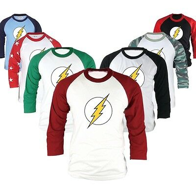 Superhero DC Comics The Flash 3 4 Sleeve Raglan Baseball T Shirts Jersey Top
