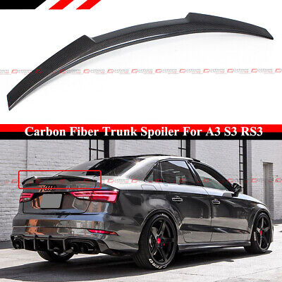 FOR 14-2020 AUDI A3 S3 RS3 SEDAN 8V HIGHKICK M STYLE CARBON FIBER TRUNK SPOILER