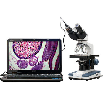 AmScope 40X-2500X LED Digital Binocular Compound Microscope, 3D Stage USB Camera on Rummage