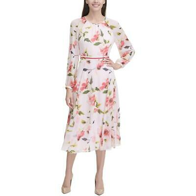 Tommy Hilfiger Womens Corsage Floral A-Line Daytime Midi Dress BHFO 0520