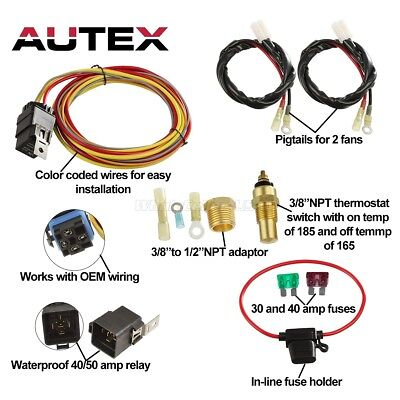 Dual Electric Cooling Fan Wiring Install Kits 185/165 Thermostat 50 AMP Relay