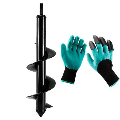 Garden Auger Drill Bit Earth Auger Bit With Gloves For Digging Plant 3x 12