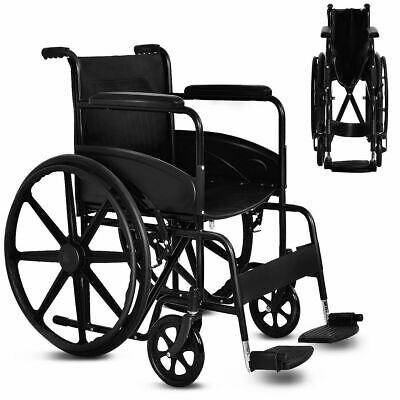 Goplus 24'' Lightweight Foldable Medical Wheelchair w/ Footr