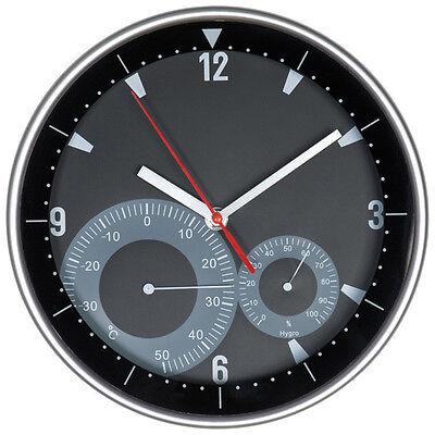 Moderne Wanduhr in schwarz mit weißen Zeigern - mit Hygrometer und Thermometer