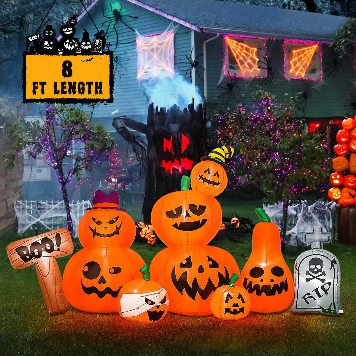 7 lighted airblown inflatable halloween pumpkin patch