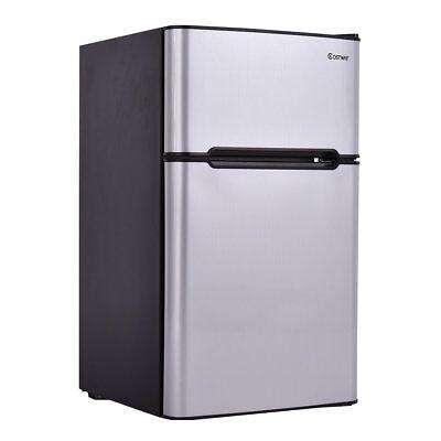 2-Door Condensed Refrigerator 3.2 cu ft. Unit Small Freezer Cooler Fridge (Gray)
