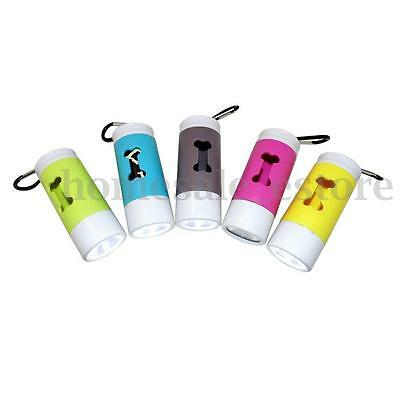 Flash Light Dispenser For Pet Dog Cat Poop Scoop Waste Bags Roll Holder Clean Up