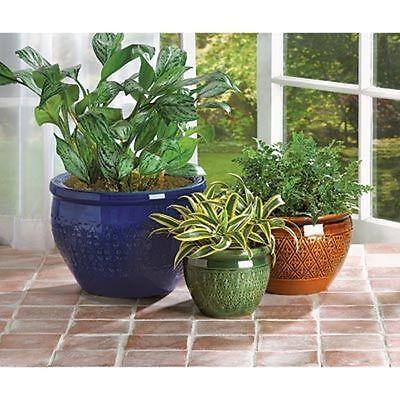 Set Of 3 Pc  Jewel Tone Flower Plant Pot Yard Garden Decor 38899