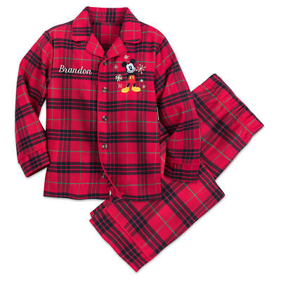 Disney Store Mickey Mouse Plaid Pajama Set Holiday Boys Christmas No Name New