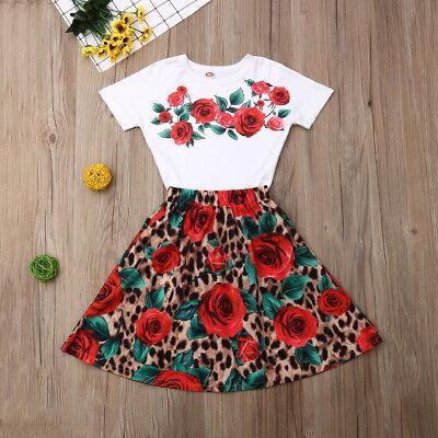 US Summer Toddler Baby Girl Clothes Flower Tops Leopard Dress Skirt Outfits Set](Toddler Leopard Dress)