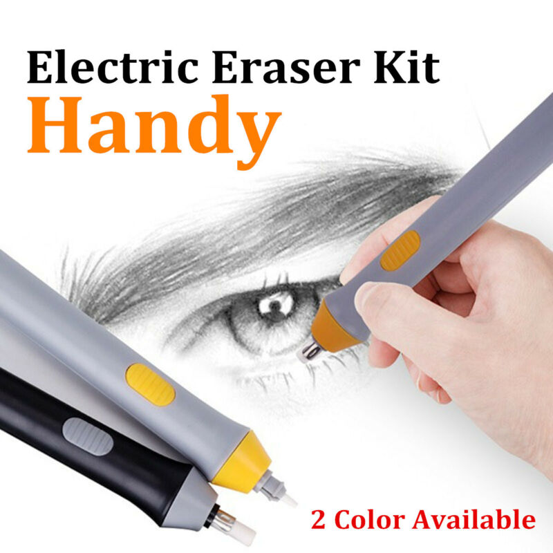 Electric Automatic Rotating Eraser Painting Kit Replaced Refills Battery Powered
