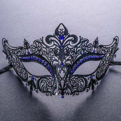 Black Blue Rhinestones Luxury Laser Cut Filigree Women Party Eye Mask Masquerade - Rhinestone Mask