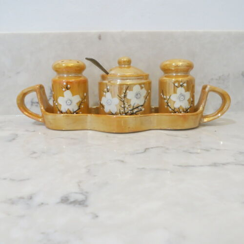 Vintage  Lusterware Salt Pepper Condiment with spoon and Tray