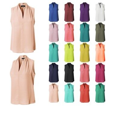 FashionOutfit Women's Solid Chiffon V-Neck Sleeveless Office Blouse Made in USA ()