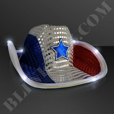 RED WHITE BLUE 4TH OF JULY Sequin Cowboy Hat with Flashing WHITE LED Brim