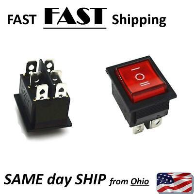 Red Rocker Switch Onoffon 3 Position 6pins With Lamp Ac 250v16a